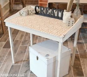 Fabric Topped Table, How To, Painted Furniture, Repurposing Upcycling,  Reupholster Amy