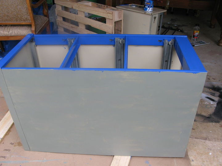 painting an old file cabinet to make a large colorful planter, container gardening, gardening, repurposing upcycling