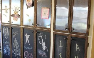 sheet metal faced cabinets, chalkboard paint, kitchen cabinets