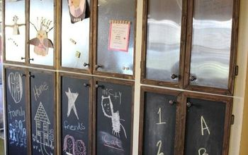 Update Outdated Cabinets By Adding Sheet Metal And Chalkboard Paint