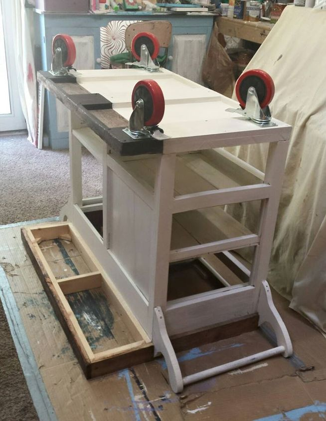 diy barnwood top rustic kitchen island, kitchen design, kitchen island, repurposing upcycling, rustic furniture