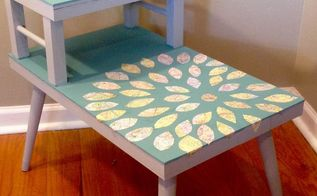 two tiered decoupaged end table, chalk paint, decoupage, painted furniture