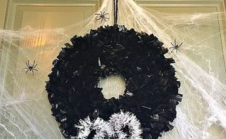 how to make a halloween wreath out of trash bagshalloween wreath made out of trash ba, crafts, halloween decorations, how to, seasonal holiday decor, wreaths