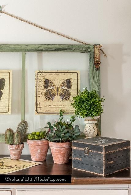 thow to turn old window frames into botanical butterfly wall art crafts diy - Window Frame Wall Art