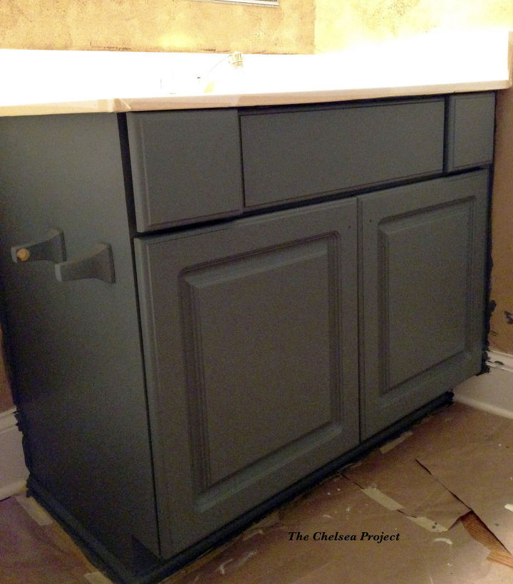 melamine powder room vanity makeover without stripping sanding or pr,  bathroom ideas, chalk paint