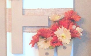 diy monogram wall hanging with tutorial, crafts, flowers, how to, wall decor