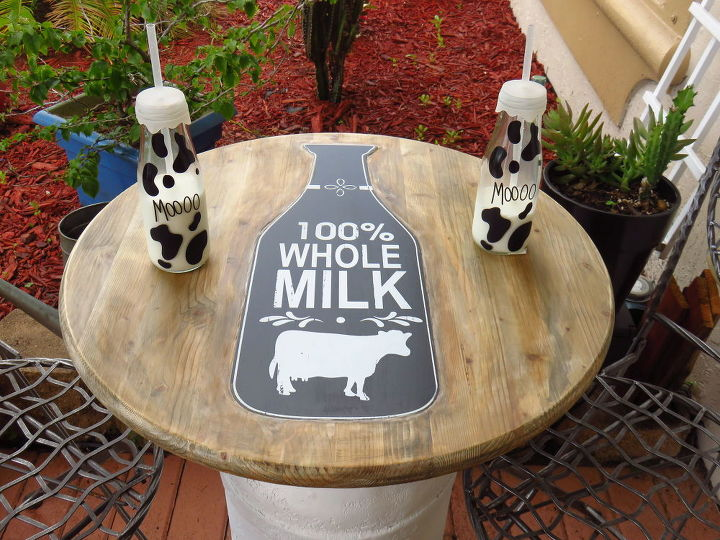 diy milk can table, outdoor furniture, painted furniture