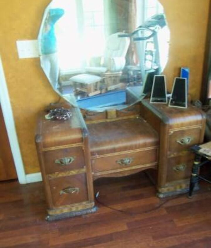 art deco vanity makeover, painted furniture, repurposing upcycling, reupholster