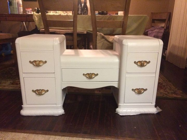 art deco vanity makeover  painted furniture  repurposing upcycling   reupholster. Art Deco Vanity Makeover   Hometalk