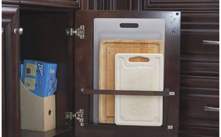 diy vertical behind the cabinet door cutting board holder, how to, kitchen cabinets, kitchen design, organizing, storage ideas
