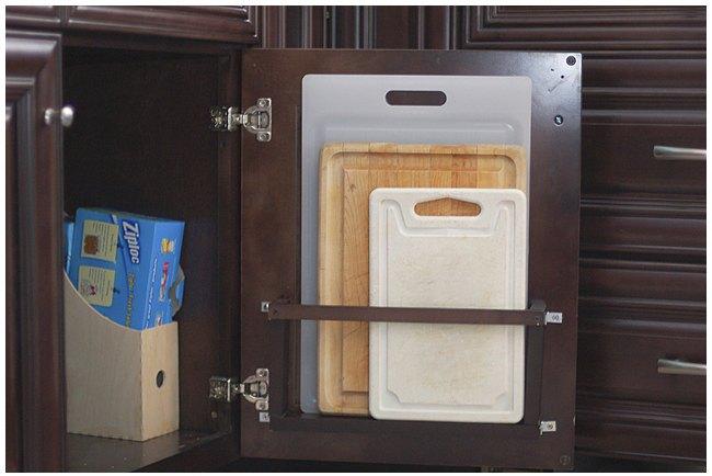 diy vertical behind the cabinet door cutting board holder, how to, kitchen cabinets, kitchen design, organizing, storage ideas
