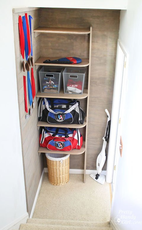 sports gear storage in small space vertical space, how to, shelving ideas, storage ideas