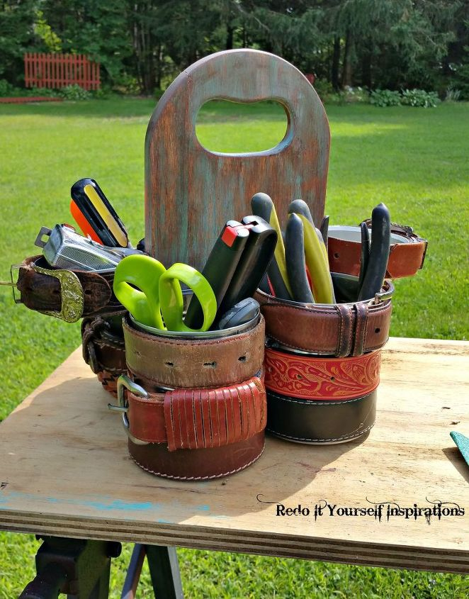 how to make a gorgeous tool caddy from tin cans and a cutting board, crafts, how to, repurposing upcycling