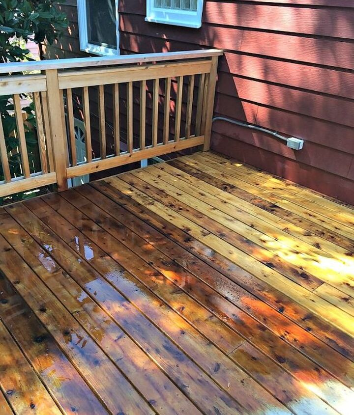 the never ending deck stain project, decks, outdoor living, Cleaned wood vs wood with cleaner