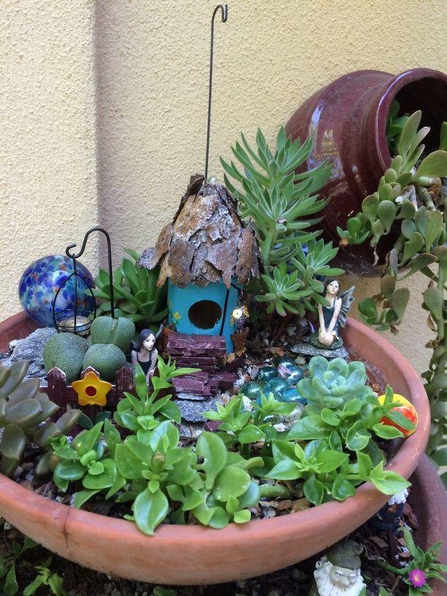 water wise fairy garden, container gardening, crafts, gardening, ponds water features