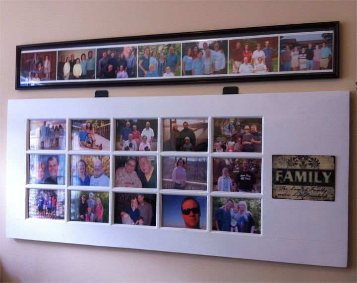 how to turn an old door into a photo gallery, doors, repurposing upcycling, wall decor, Finished and hung on the wall