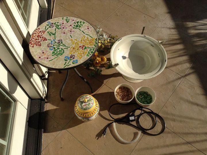 diy colorful patio water feature, outdoor living, ponds water features, repurposing upcycling