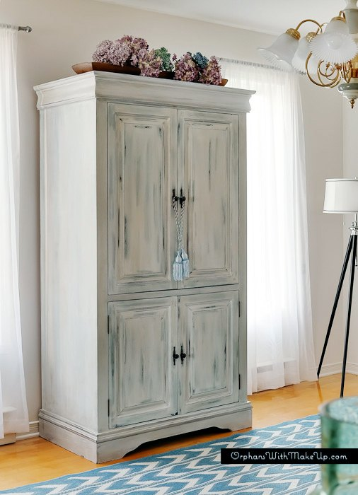 upcycled media cabinet into armoire, painted furniture, repurposing upcycling