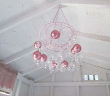 hanging planter turned craft room chandelier, crafts, lighting, repurposing upcycling