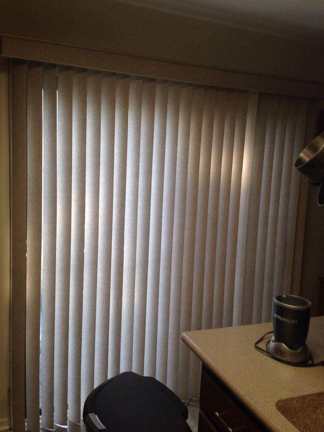 q suggestions for new window treatments, window treatments, windows, Sliding door in kitchen