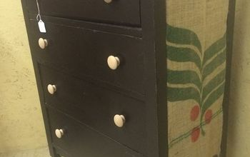 dresser makeover with coffee bags, painted furniture, repurposing upcycling