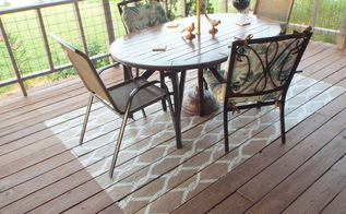 diy painted rug on porch floor, flooring, painting, porches