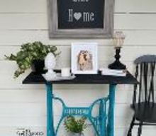 new purpose for old treadle base, outdoor furniture, painted furniture, repurposing upcycling