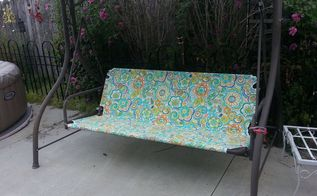 revamp patio garden swing, outdoor furniture, painted furniture, reupholster