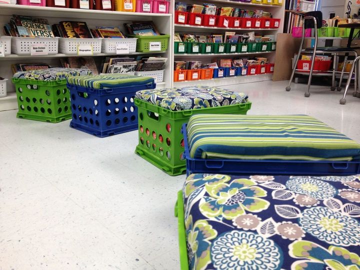 diy crate stools with storage, organizing, repurposing upcycling, storage ideas, reupholster