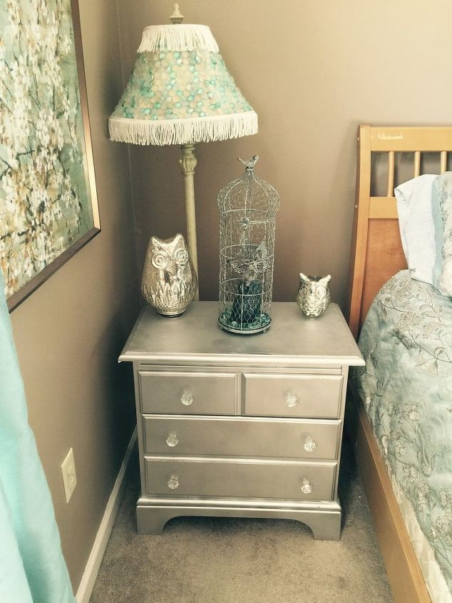refinished nightstand with mirror paint hometalk