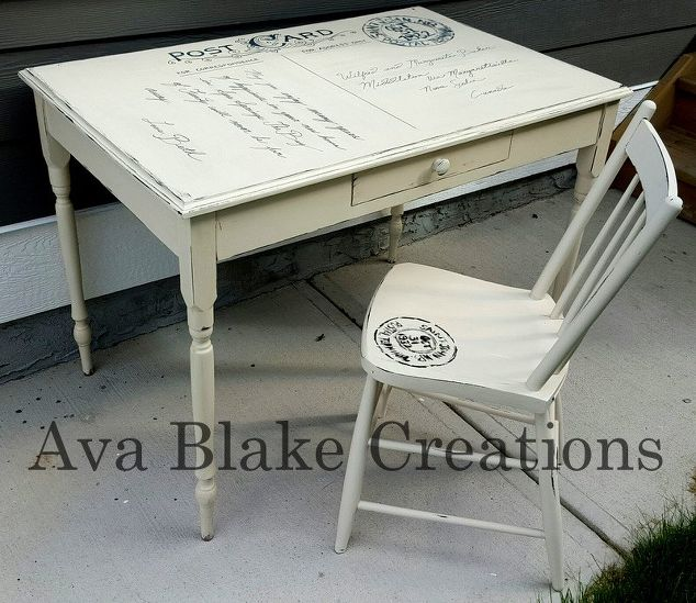 chalk painted furniture ideasCustom Antique Postcard Table and Chair Set  Hometalk