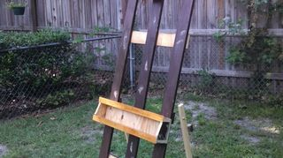 , UPDATE I was able to get 4 inch trims from 25 year old shelves that were being dismantled when the store closed I used this brown painted wood to make easels for donating to local high schools So far I built 2 but I think there is enough wood for 2 more The photo shows a easel in unsanded painted state I painted them with a Gliden leather brown oil enamel