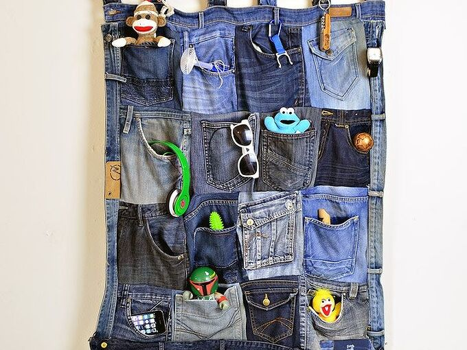 wall pocket organizer from old jeans, bedroom ideas, organizing, repurposing upcycling, storage ideas