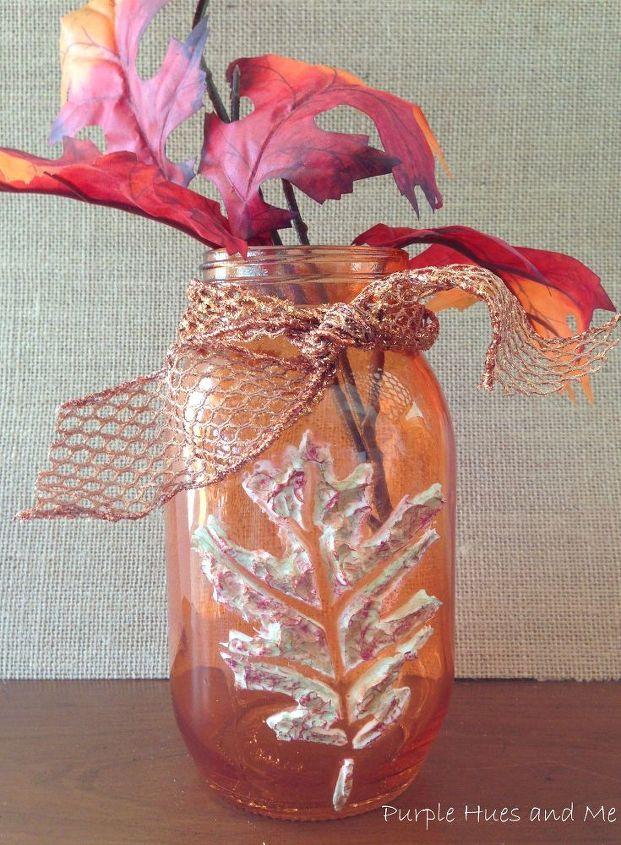 stenciled dimensional leaf mason jars, crafts, home decor, mason jars, seasonal holiday decor
