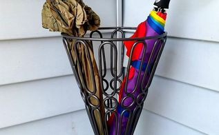 outdoor yard urn turned umbrella stand, crafts, repurposing upcycling