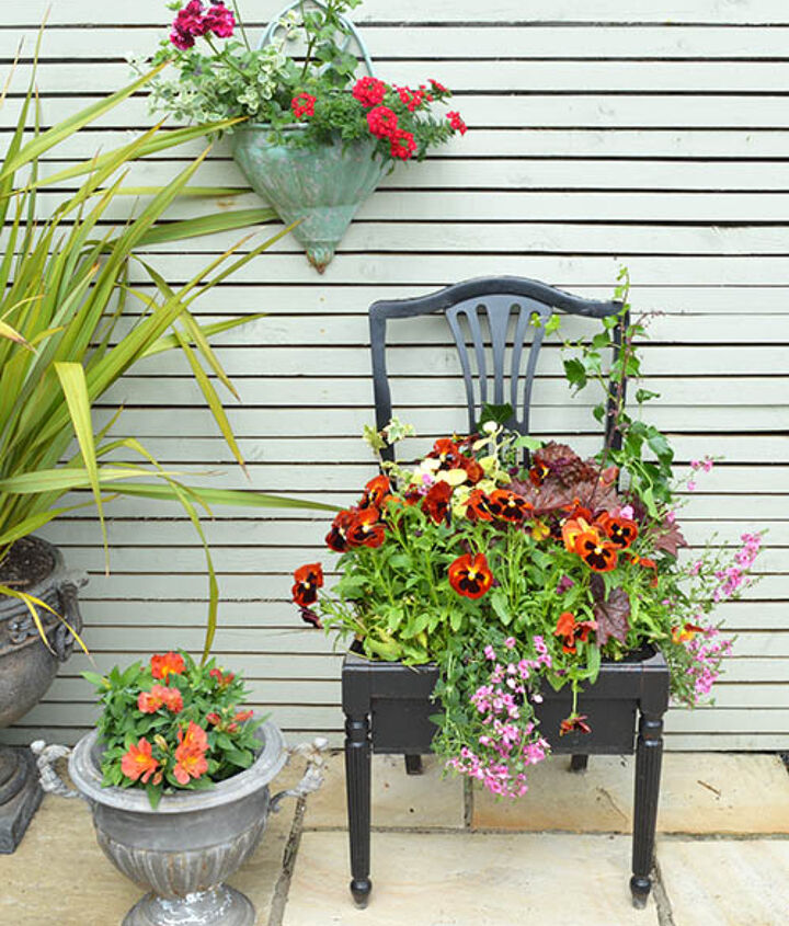 how to make a chair planter, container gardening, gardening, how to, repurposing upcycling