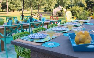 turquoise and coral outdoor patio living space, landscape, outdoor living, patio