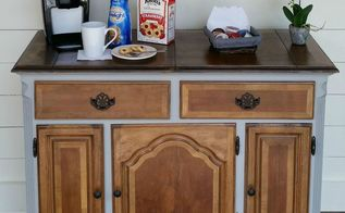 repurposed buffet into a coffee bar, organizing, painted furniture, repurposing upcycling
