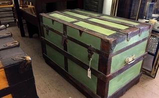 grungy trunk makeover using modern masters metal effects, painted furniture, repurposing upcycling