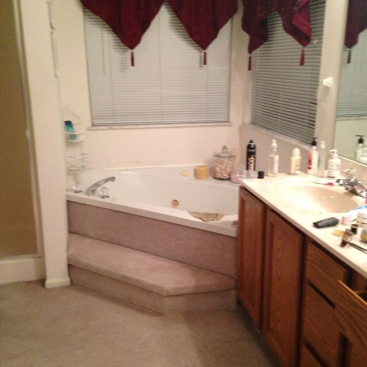 Carpeted Bathroom Gets A New Tile Floor Hometalk