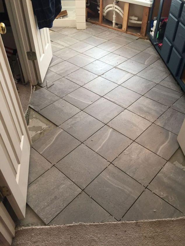 carpeted bathroom gets a new tile floor, bathroom ideas, diy, flooring, tiling