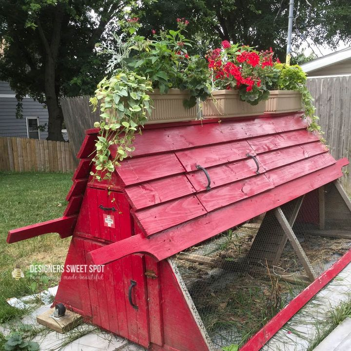 planted chicken coop petideas, container gardening, homesteading, repurposing upcycling