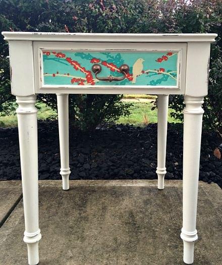 decoupage side table, chalk paint, decoupage, painted furniture