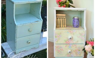 nightstand updated with fabric, painted furniture, reupholster
