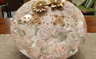 turn a ugly box into a pretty keepsake box, crafts, decoupage, repurposing upcycling
