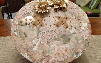 turn a ugly box into a pretty keepsake box, crafts, decoupage, repurposing upcycling