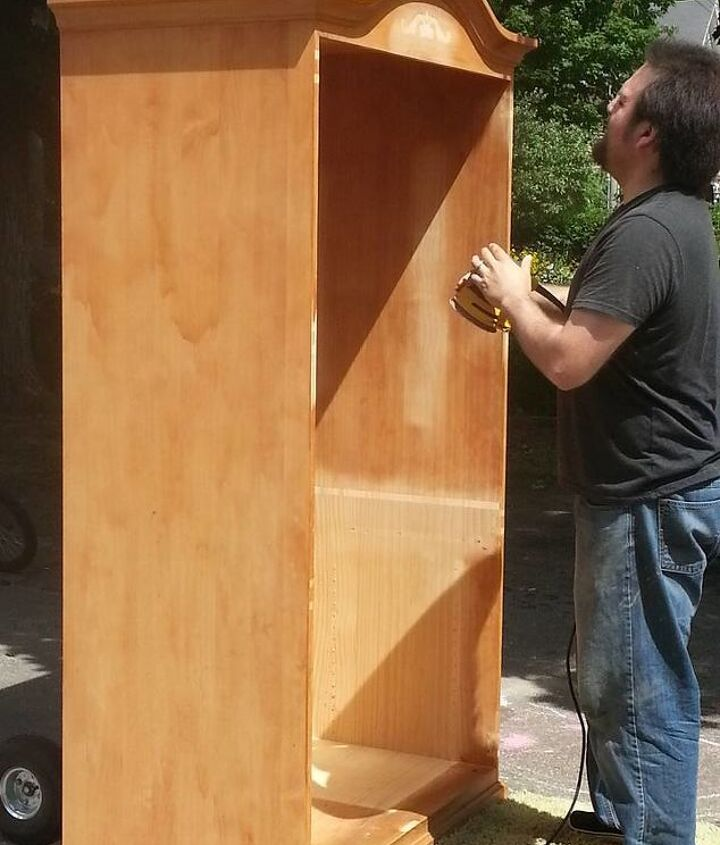 old beat up entertainment center, painted furniture