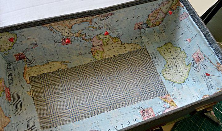 vintage map suitcase storage, crafts, decoupage, repurposing upcycling, storage ideas