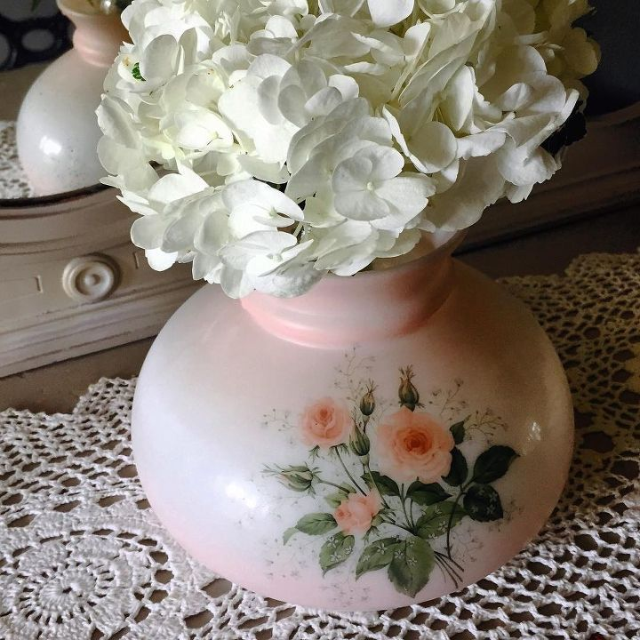 antique glass lamp top used as a flower vase, crafts, repurposing upcycling