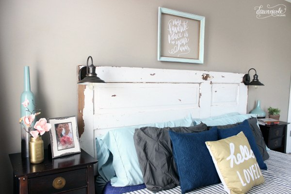 diy vintage door headboard, bedroom ideas, diy, doors, home decor, rustic - DIY Vintage Door Headboard Hometalk
